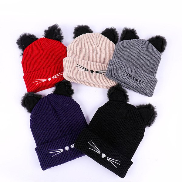 Bpckaace New design Cat Ears Skullies warm winter Beanie Caps Cute casual solid Knitted hats 5 color