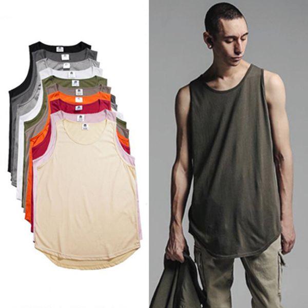 Männer Plain Long Tank Top Weste Sommer Stil Sleeveless Gebogener Saum Baumwolle T-Shirt Sport Basketball Jogging Tees Longline Westen MJG0310