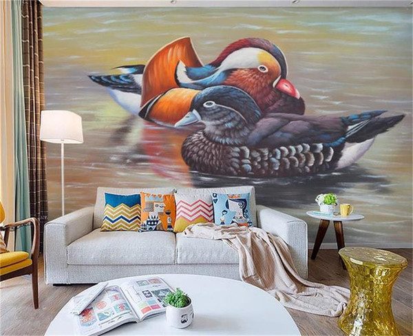 custom size 3d photo wallpaper living room 3d mural lake mandarin duck 3d oil painting sofa TV backdrop wallpaper non-woven wall sticker