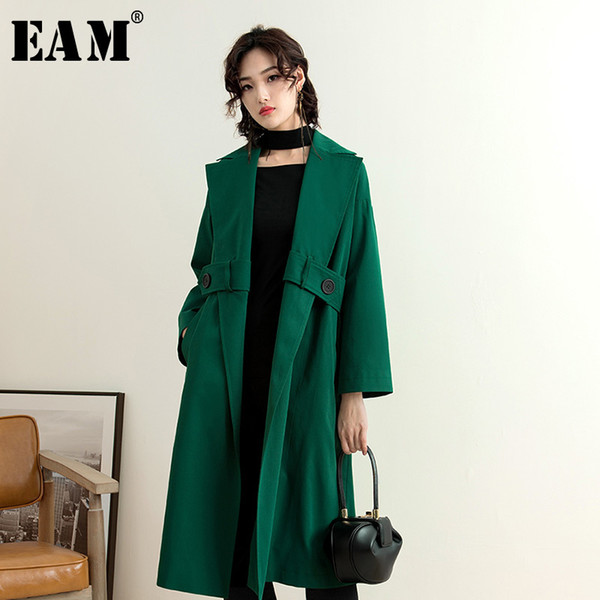 eam] 2019 new autumn winter lapel long sleeve bandage pockets temperament windbreaker big size women trench fashion tide jy032, Tan;black