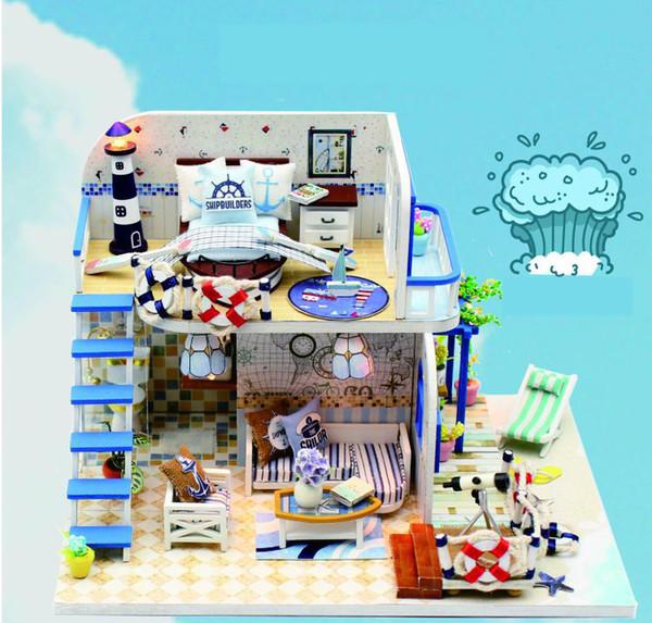 Blue Coast Beach Villa Modelo Casa de muñecas Muebles en miniatura Kit DIY con luces LED Juguete de madera Casa de muñecas Regalo de cumpleaños hecho a mano