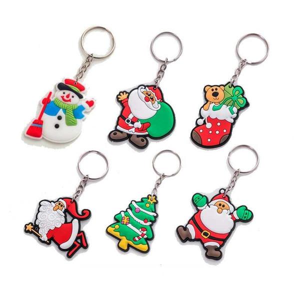 Better Quality ! Christmas Series Cartoon Key Chain Santa Claus Rubber Keychain