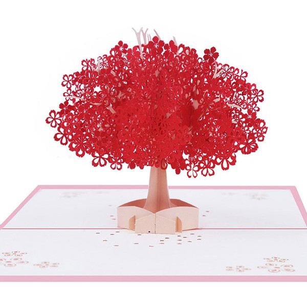 Sakura Tree Greeting Cards 3d Invitation Card Manual Paper Romantic Wedding Valentine S Day Party Supplies Congratulations Cards Congratulations