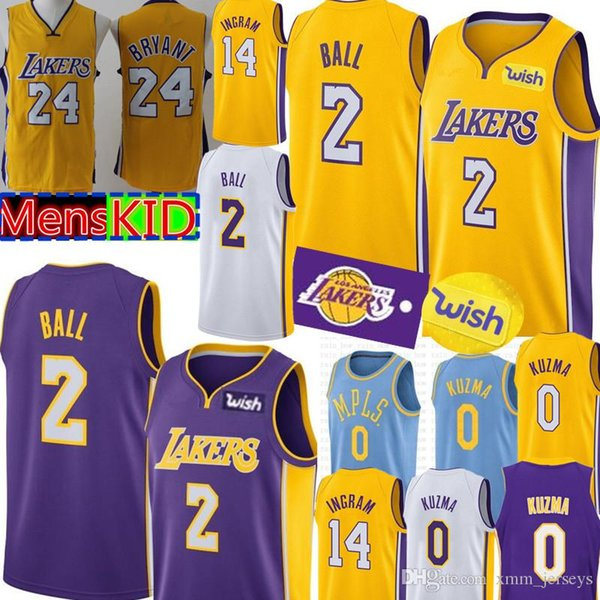 quality design eee95 be170 2019 Lakers 2 Lonzo Ball Jersey New Los Angeles 0 Kyle Kuzma 14 Brandon  Ingram Basketball Jerseys Retro 24 Kobe Bryant Youth KID Mens From ...