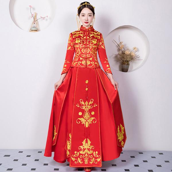 Elegante Frauen Ehe Anzug Chinesische Rote Stickerei Qipao Vintage Cheongsam Klassische Braut Hochzeit Party Tang Kostüme