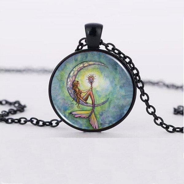 mermaid moon Fashion Glass Pendant Necklace Wholesales