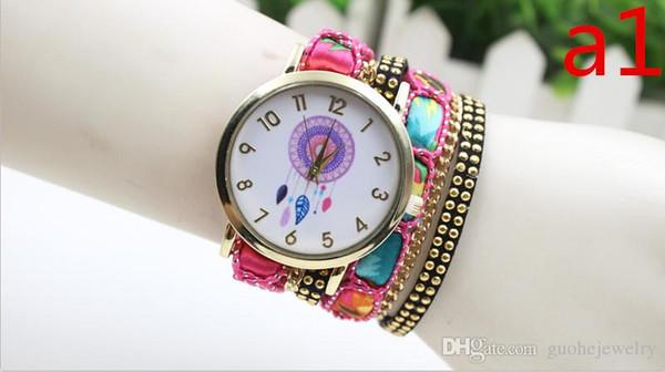 fashion women bracelets watch ladies Dreamcatcher rivets leather chain wrist watch Creative quartz watches for women