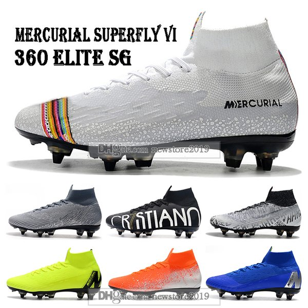Mens Yüksek Üstleri Futbol Çizmeler LVL UP Superfly 6 Elite SG Futbol Ayakkabıları CR7 Mercurial Superfly VI 360 Neymar ACC Futbol Cleats