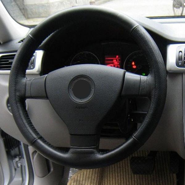 1PC Fundas para automóviles Para astra h Funda volante Funda en el volante Gris Negro Cuero artificial con hilo de agujas