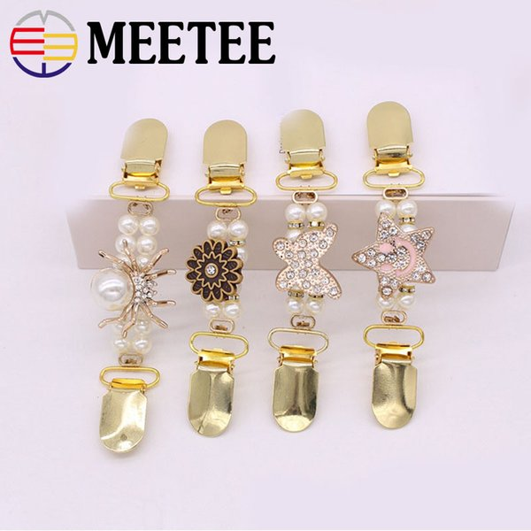 2Pcs Pearl Sweater Cardigan Clip Retro Metal Buckle Buttons Clothes Decorative Buckles Garment Hook DIY Sewing Accessories