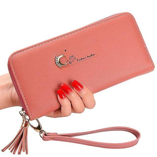 Moda mujer monedero de cuero de la pu bolsos de señora Niza mujer largo del embrague de la cremallera monedero de tarjetas titular de las borlas billetera bolsas de pulsera