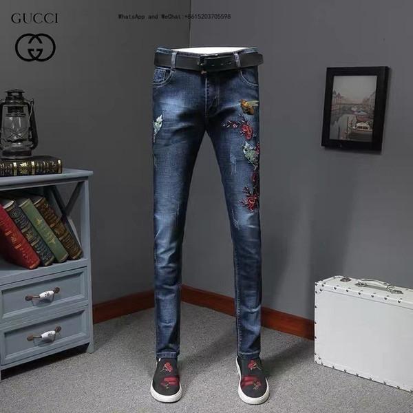 2019 Pantaloni nuovo modello High Street Biker mens jeans di colore Jeans Slim Maschio