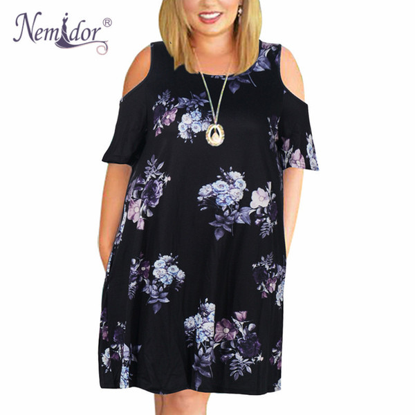 Nemidor Women Casual O-neck Off The Shoulder Midi Plus Size Summer Dress Short Sleeve Loose Vintage Dress With Pockets Y19052703