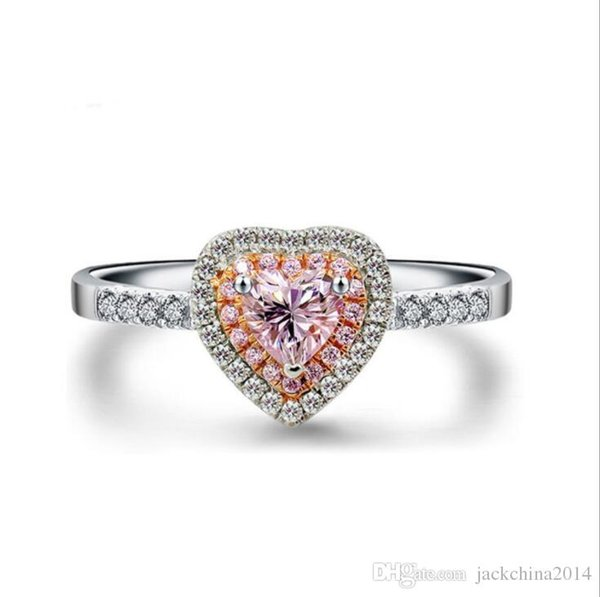 Wholesale Handmade choucong Luxury Jewelry 925 Sterling Silver Pink Sapphire Party Pave Setting Gemstones CZ Women Wedding Heart Ring Gift