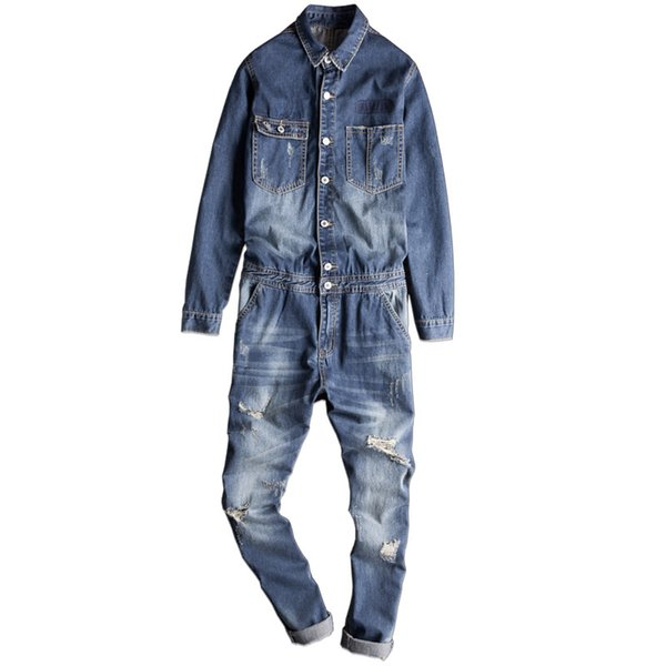 New Korean Fashion Denim Jacket Set Men's Casual Bibs Super Handsome Mens Denim Jumpsuit Trend Overalls Male