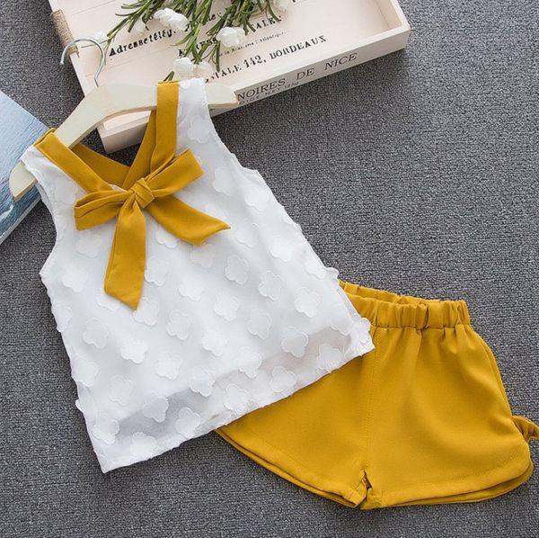 INS filles tenues enfants stéréos pétales appliques lacets up cravate gilet tops + split bows shorts 2pcs ensembles été bébé fille vêtements F8402