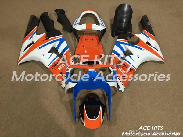 Carénage de moto pour KAWASAKI Ninja ZX-6R 636 2003 2004 carrosserie injection ou compression orange blanc