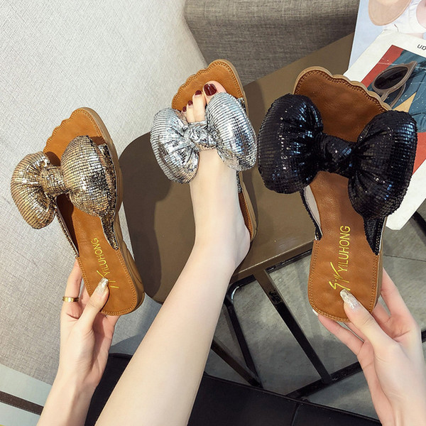 Chinelos Feminino Verão Desgaste Estudantes Coreano Versão 2019 Nova Moda Massagem Macio Fundo Bow Slip Plana Flip Tamanho 35-40