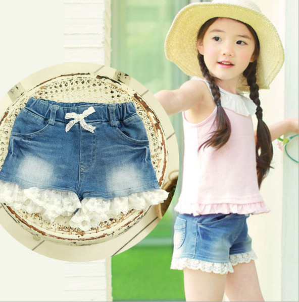 Girls denim shorts kids splicing lace embroidery falbala jean shorts children lace Bows double pocket elastic cowboy shorts F6325