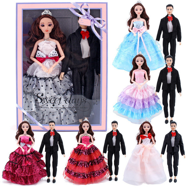 Krishti Barbie Doll Can Facelift Bride And Groom Suit Gift Box Girl House Toys Doll