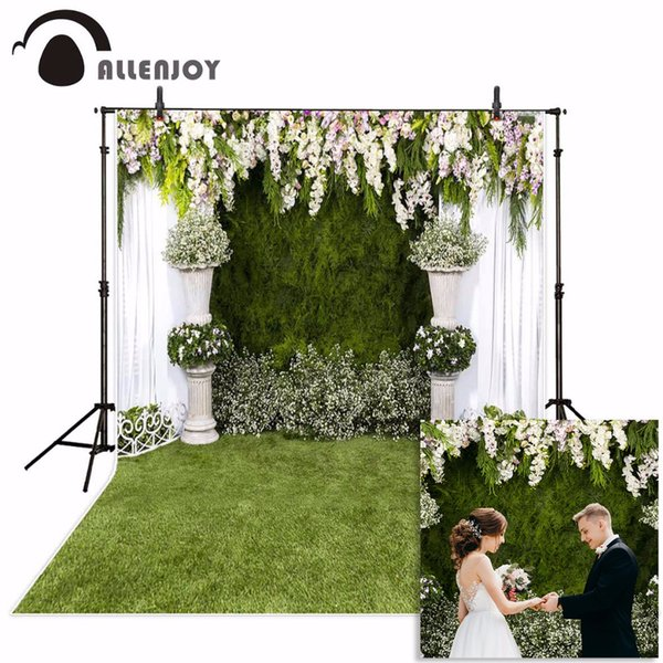 ackground photo studio Allenjoy Wedding photography backdrop garden flower spring green grass background photo studio photocall photophon...