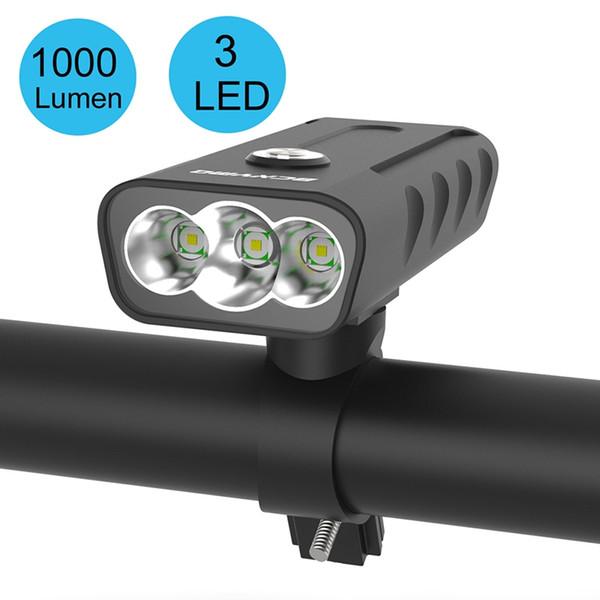 5200 Mah Bisiklet Işık 1000 Lümen Bisiklet Işık Pil USB Şarj Dahili Alüminyum Alaşım Bisiklet Su Geçirmez Bisiklet Aksesuar # 41401