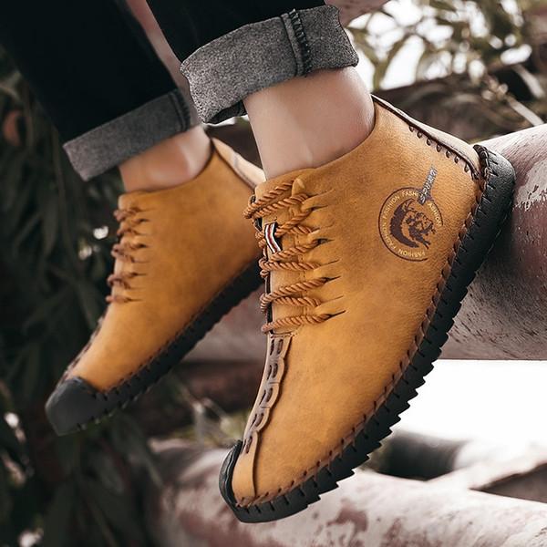 2018 Fashion Leather Shoes Men Full Handtailor Vintage Sneakers Huarache Moccasins Non-slip Super Hot Flats Black Plus Sizes 48 #190226