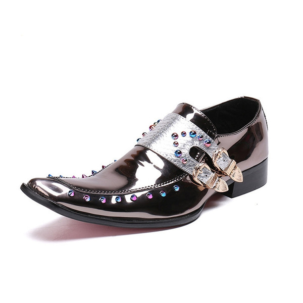 Italian Mens Formal Shoes Bright Patent Leather Comfortable Double Buckle Straps Rivets Wedding Shoes Buckle Straps Rivets Wedding Shoes
