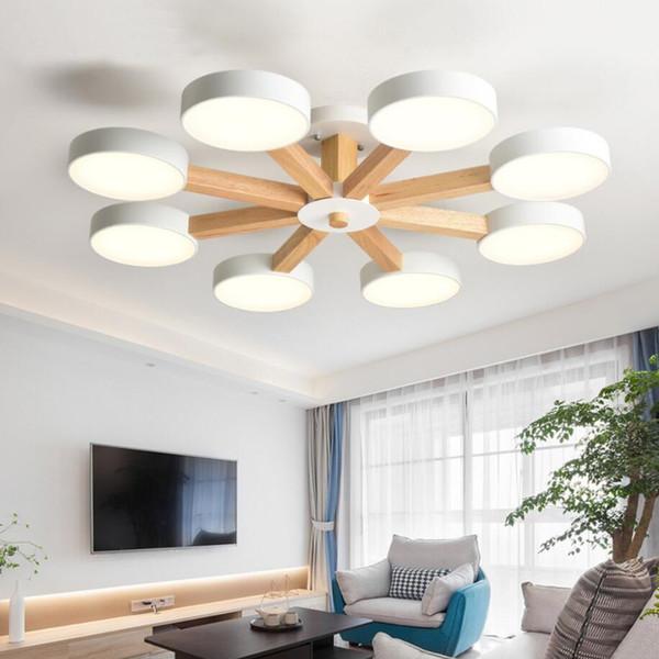 Acheter Nouveau 220V LED Lustre Plafonnier Pour Salon Moderne Blanc Lustre  En Bois Chambre Luminaire Simple Surface Monté Lustres De $119.25 Du ...