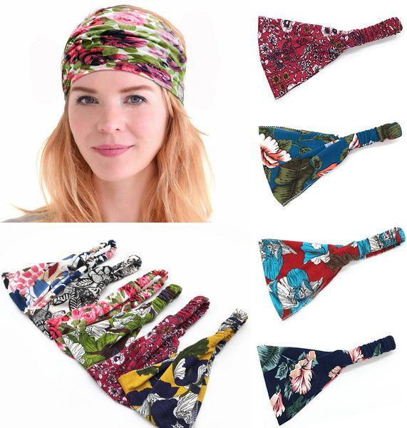12pcs/lot Exquisite New Printing Absorb sweat Women Boho Hair Head Wraps Accessories Fashion No Slip Wide sports yoga Hairband Headbands