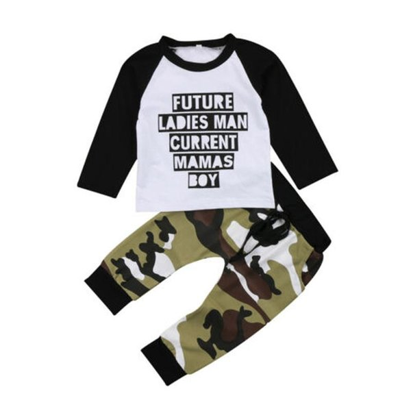 Toddler Kids Long sleeve Clothes Set Baby Boy Letter T shirt Tops+Camouflage Pants Outfits