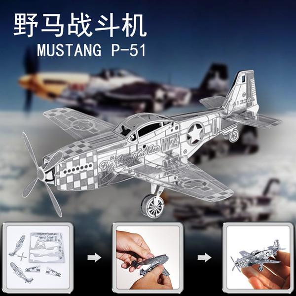 P51 Mustang Combattant En Métal En Acier Inoxydable Bricolage Assembler Modèle 3D Nano Puzzle Jouets Éducatifs Collectionner Art Décoration
