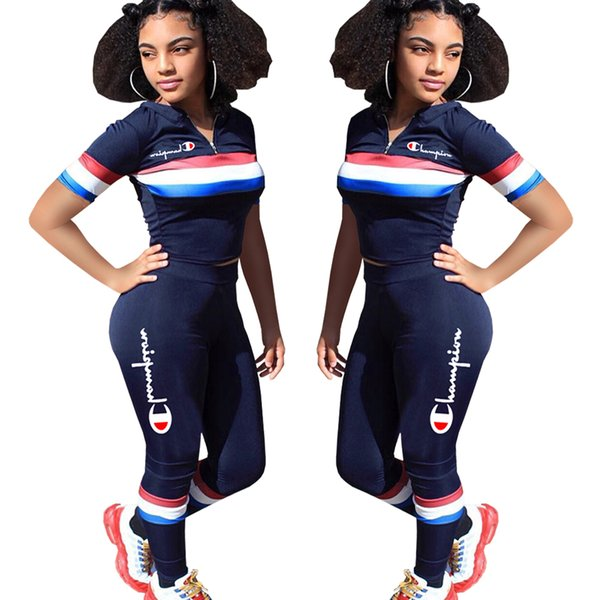 S1.Champ Women Two Piece Outfits Stripe Print Letter Embroidered Short Sleeve Crop Top Long Pant Set Slim Track Suit Dark Blue