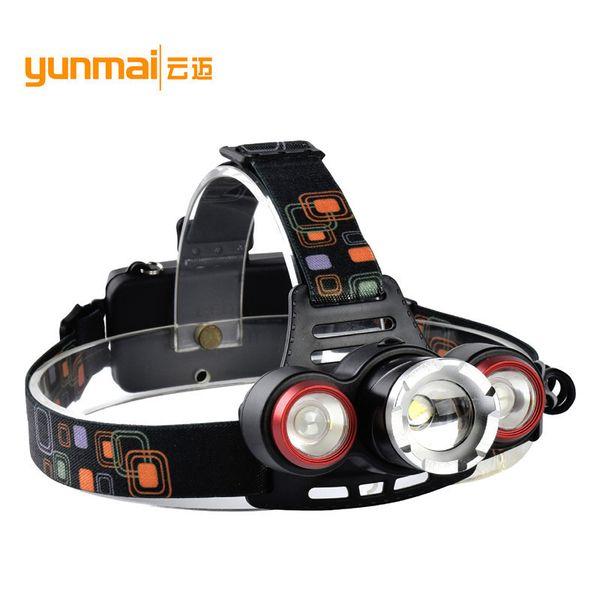 Los nuevos faros de luz de patrón pueden enfocar T6 + lts Tipo de uso de la cabeza Linterna 18650 Faros de carga