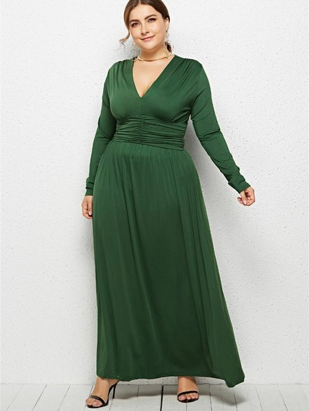 Wipalo Women Plus Size Plunging Neck Empire Waist Maxi Dress Fit And Flare  Solid Formal Evening Party Dress Casual Vestidos 3XL Halter Dresses Dress  ...