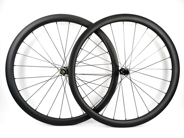 Full carbon fiber wheels 700C 38mm depth 25mm width Clincher/Tubular Road disc brake bike wheelset UD matte finish