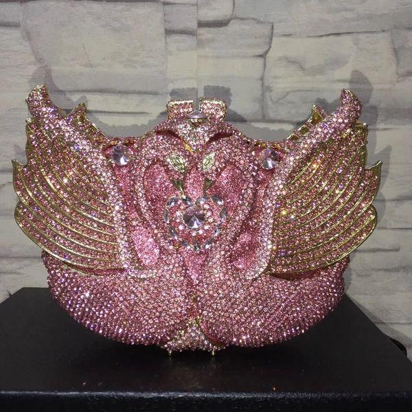 Dgrain Swan Women Crystal Clutch Evening Bag Pink Party Minaudiere Box Clutch Purse Animal Bridal Rhinestone Handbag Dinner Decorative Bags