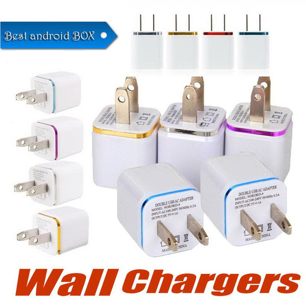 New Metal Color Edge Dual USB Charger Travel AC Adapter Home Chargers EU US Plug 2port USB Wall Chargers Phone