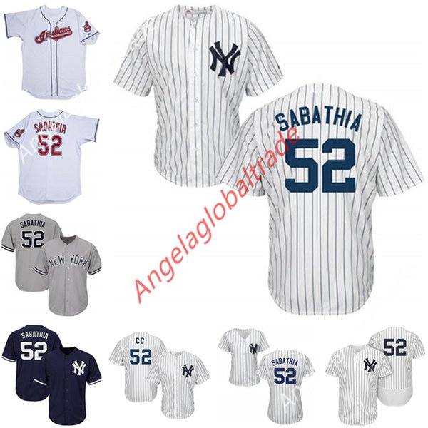 promo code 3580a 385c4 2019 Custom New York 52 Sabathia Jersey Cleveland Baseball Jerseys White  Grey Navy For Men Women Youth High Quality Baseball Shirts From ...