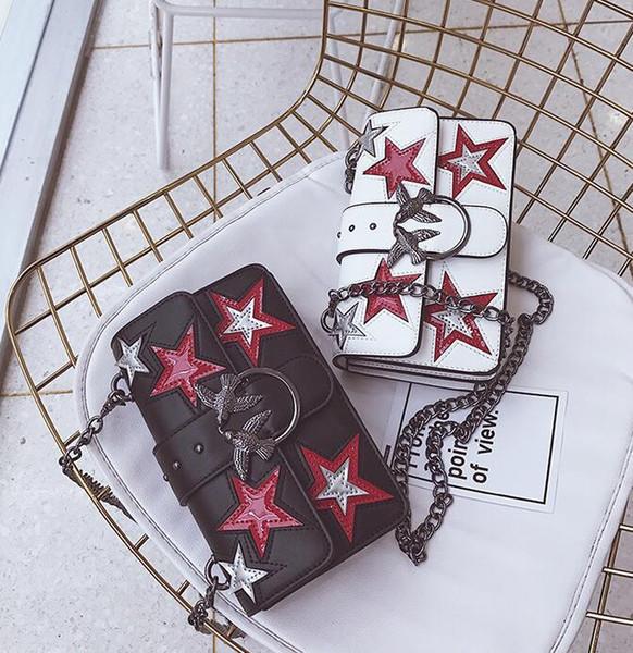 Factory wholesale women handbag personality stars decorative rivet bag fashion leather Swallow bag trend Swallow lock shoulder bag