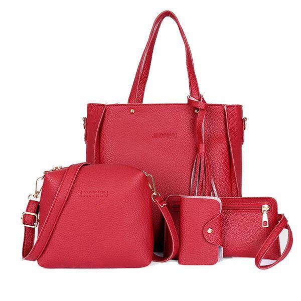 4pcs/set Women Bags Large Capacity Cosmetic Bag Set Tassel Handbag Fashion Shoulder Bag Purse Ladies Crossbody Bags Black Red Y190702