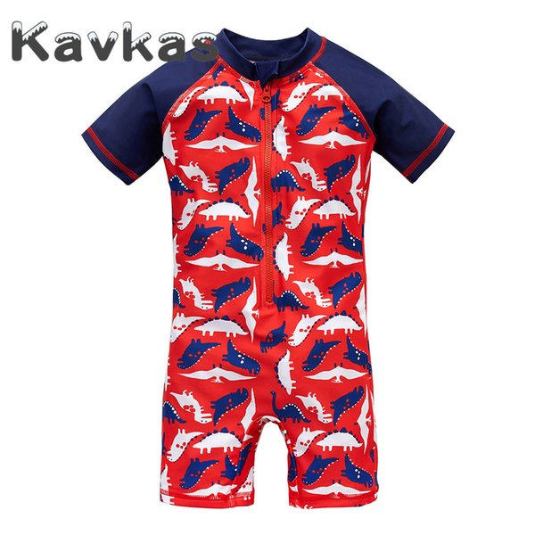 Kavkas 2019 Summer Boy Rash Guards Maillot De Bain Design de Bande Dessinée 1-8 T Polyester Beach Wear Élastique Bebes Bébé Vêtements
