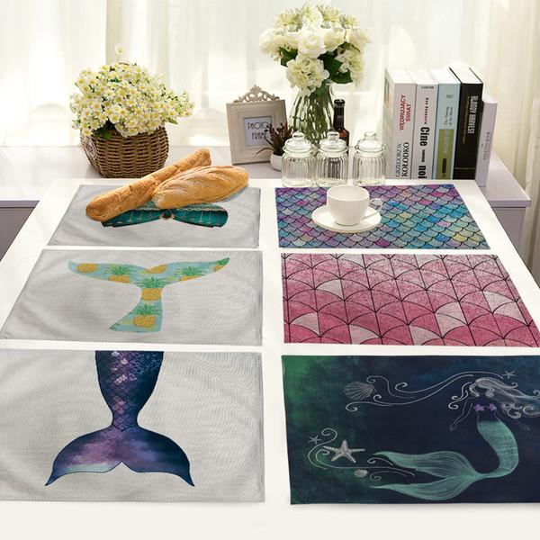 Deep Sea Mermaid Balance Imprimé Petit déjeuner isolé Tablecloth napperon occidentaux Accessoires de table Essential Accueil Tissu Mat