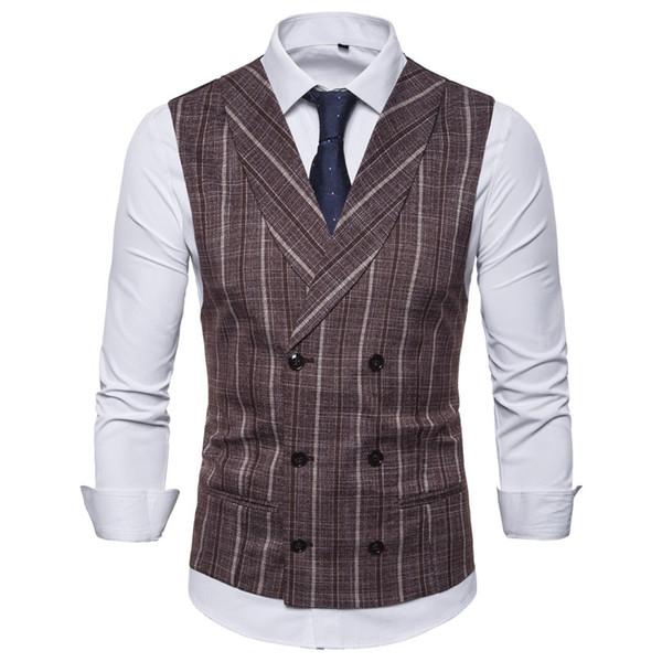 2019 мода мужской деловой костюм жилет топ в полоску двубортный мужской свободного покроя жилет свадебный жилет топы куртка топ