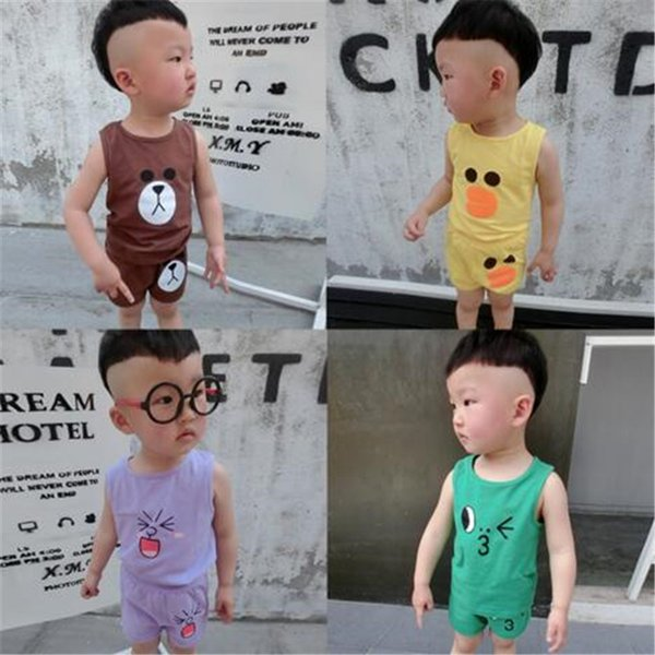 Boys Clothing Sets Cartoon Vest Kids Summer Ins Brown Bear Baby Cartoon Sleeveless Two-piece Vest Shorts Suit Cotton Clothes
