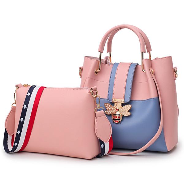 2018 Fashion Women Bag Sets Bee Pearl Female Luxury Handbags Designer Big Ladies Shoulder Bag Famous Brands Leather Casual Tote w079