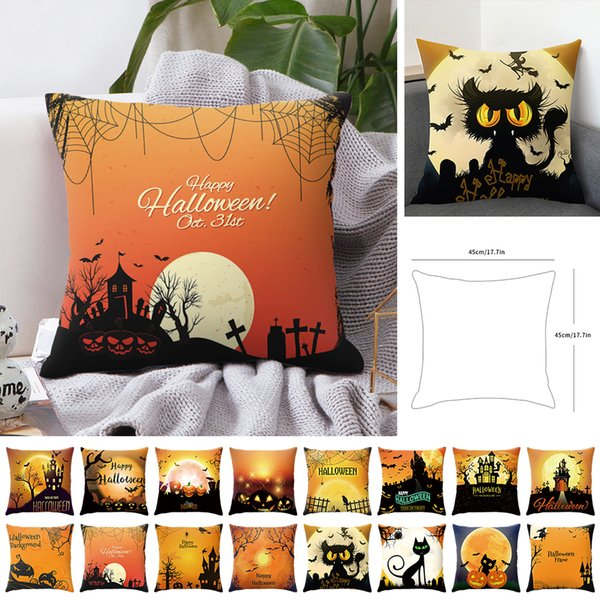 DIDIHOU 16 Styles Halloween Cushion Cover Black Cat Castle Letter Throw Pillowcase Printed Decorative Pillow Case Sofa Bedroom