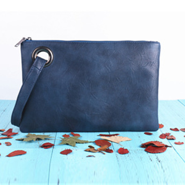 New Fashion Women Zipper PU Leather Clutch Envelope Purse Large Messenger Handbag Document Useful Bag Five Color Option