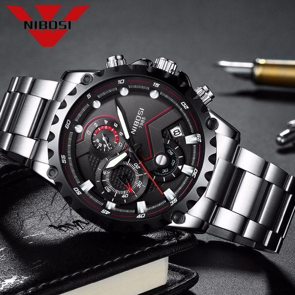 Homens Nibosi Assista Grande Mostrador do Rosto Relógios Desportivos dos homens de Moda Ao Ar Livre Relógio Do Exército Militar de Quartzo Relógio de Pulso Relogio masculino Y19051503
