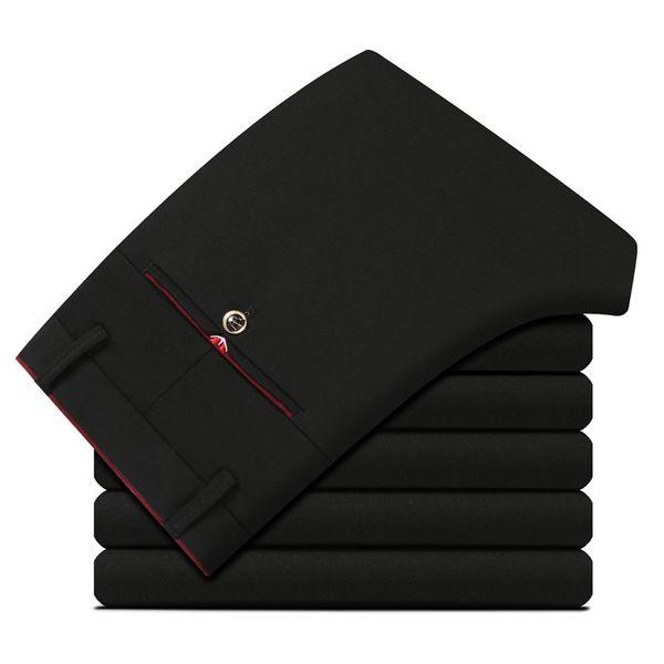 Black Men Dress Ppants Slim Fit Suit Pants For Men Straight Stretch Basic Clasicc Black Mens Trousers Office
